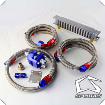 7 Row AN10 Universal Engine Transmission Oil Cooler British Type + Filter Adapter Kit Silver/Blue/Black