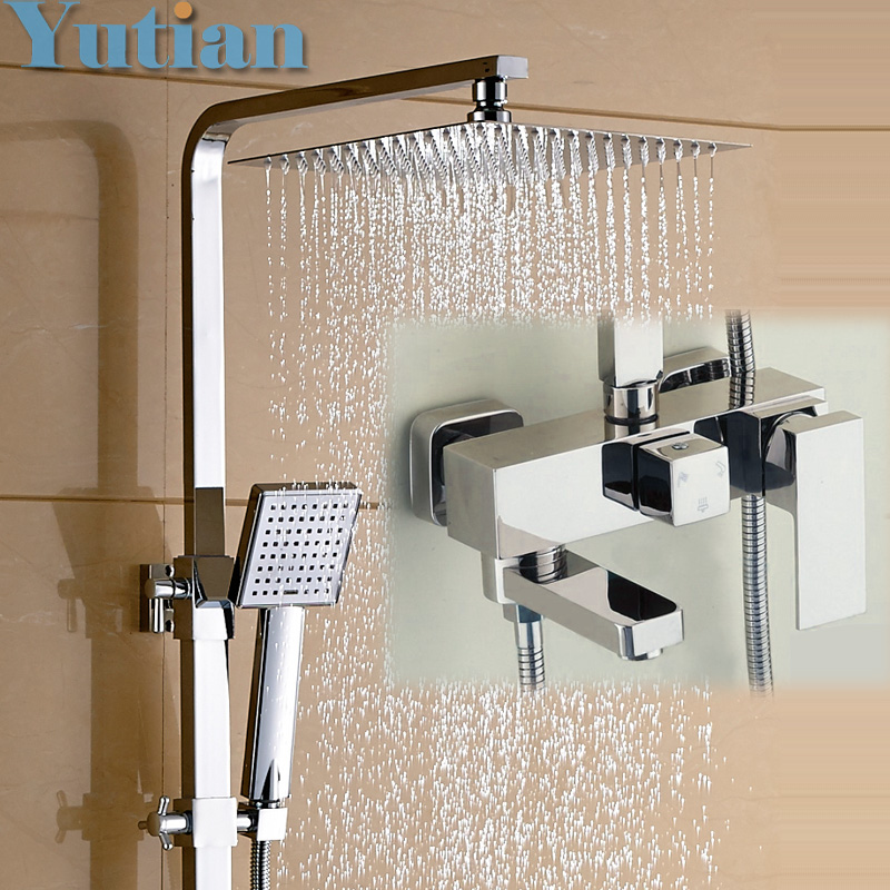 Aliexpress Com Buy Shower Set Chrome Finish Brass Made Shower Set Bathroom 3 Function Shower Faucet 12 Inch Rain Shower Head Tub Mixer Faucet From