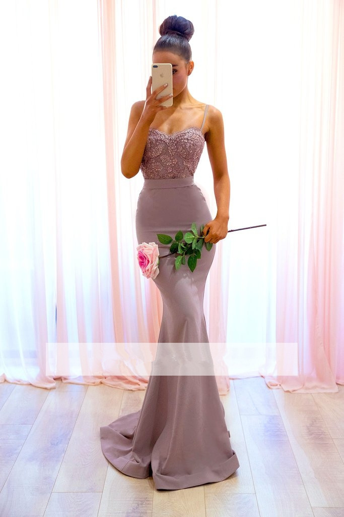 2019 Cheap Bridesmaid Dresses Under 50 Mermaid Spaghetti Straps Lace Beaded Backless Long Wedding Party Dresses