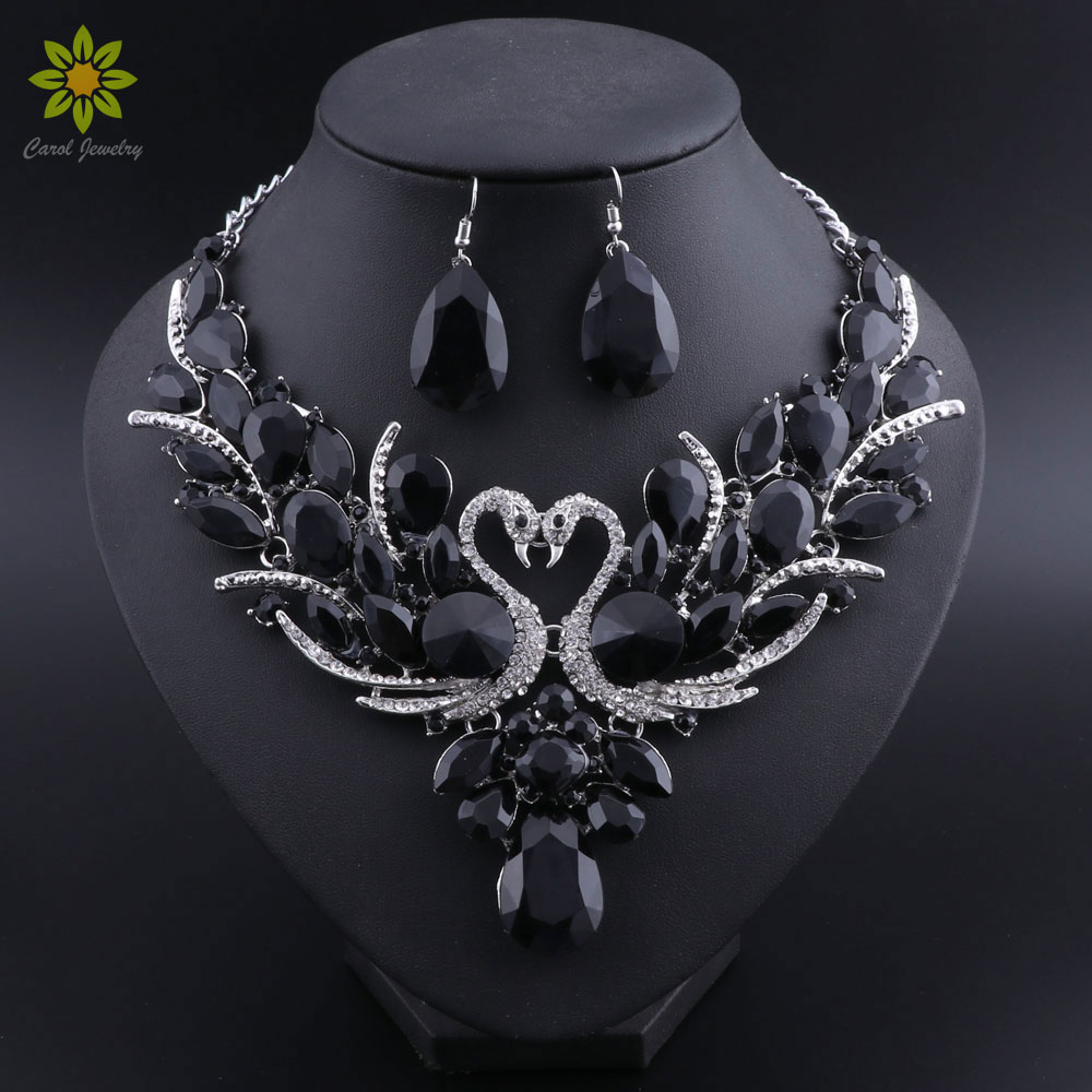 Where To Get Bridal Jewelry Bridal Jewelry Sets Silver Color Black Crystal Swan Pendant Necklace Women Gift Party Wedding Prom