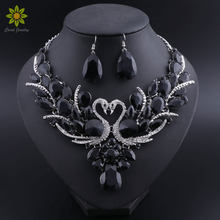 Bridal Jewelry Sets Silver Color Black Crystal Swan Pendant Necklace Women Gift Party Wedding Prom Necklace Earring Accessories(China)