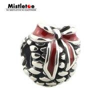 Véritable 925 En Argent Sterling Rouge Pomme De Pin Charme Avec Fil Trou Perle Unique Européenne Bracelet Collier Bijoux