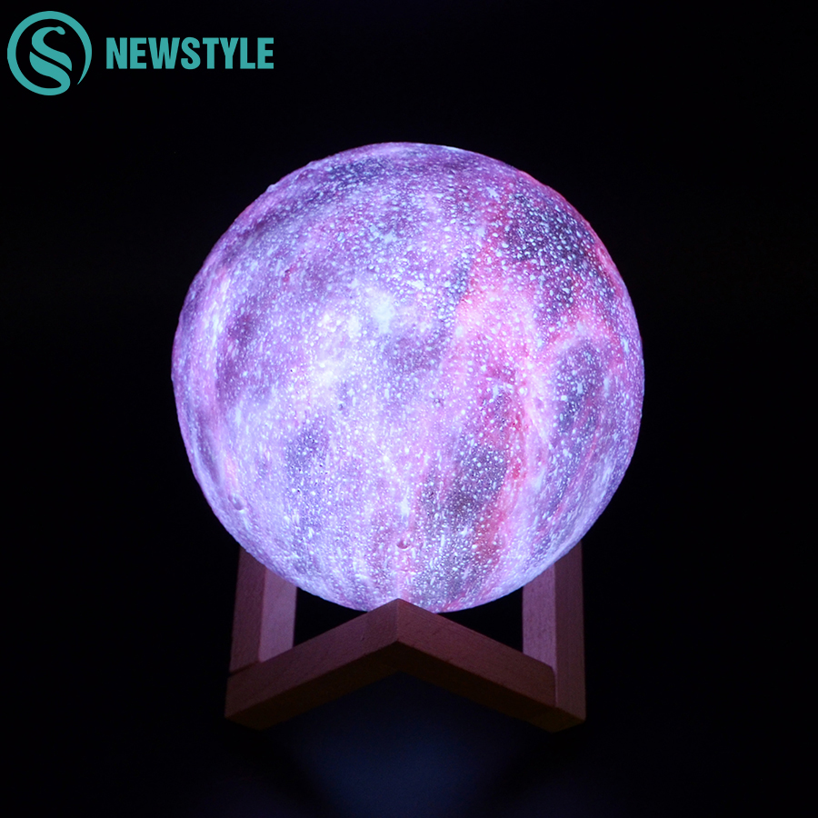 Dropship 3D Print Starry Sky Moon Lamp Color Change Rechargable Moon Night Light Touch Switch 15CM Starry Sky Projector Lights