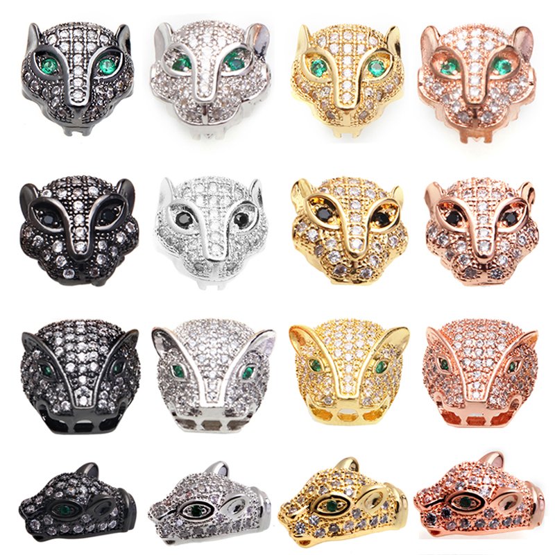 Beads Beads & Jewelry Making Rapture Magic Fish 1pcs Diy Beads Leopard Head Copper Inlaid White Zircon Drop Shipping Supplies For Charms Jewelry Sieraden Maken