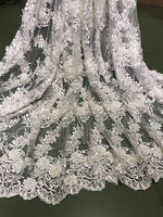 1 yard 3D flowers lace fabric, ivory embroidery beads cord lace wedding fabric, bridal lace fabric by the yard zdf039