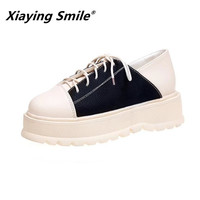 Xiaying Smile Women Heel Pumps New Arrive Fashion Casual Shoes Korean Style Flatform Thick Soled Shoes Female Mixed Color Shoes