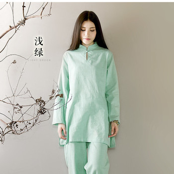 Bamboo Cotton And Linen Yoga Meditation Women Long Sleeve Tai Chi Kung Fu Clothing Morning Exercises Practice Suit