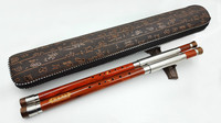Chinese Traditional Professional Bamboo Bawu Dual Pipe Ba Wu Flute With Case Rosewood
