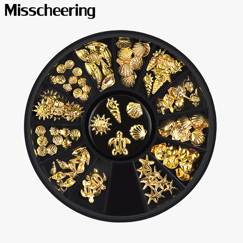 1 Box Gold Ocean Theme Metal Studs Sea Starfish Shell Turtle Slice Flakes 3d Nail Art Decoration In Wheel DIY UV Manicure Tools