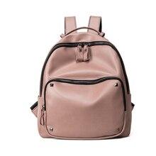 Женщины кожаные рюкзаки для подростков девочек женщин мода заклепки студенческие сумки женские рюкзак sac dos femme