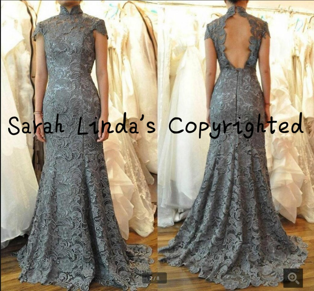 Real picture grey lace open back sexy mermaid   prom     dress   high neck with cap sleeve elegant   prom   gowns hot sale   dress   2017