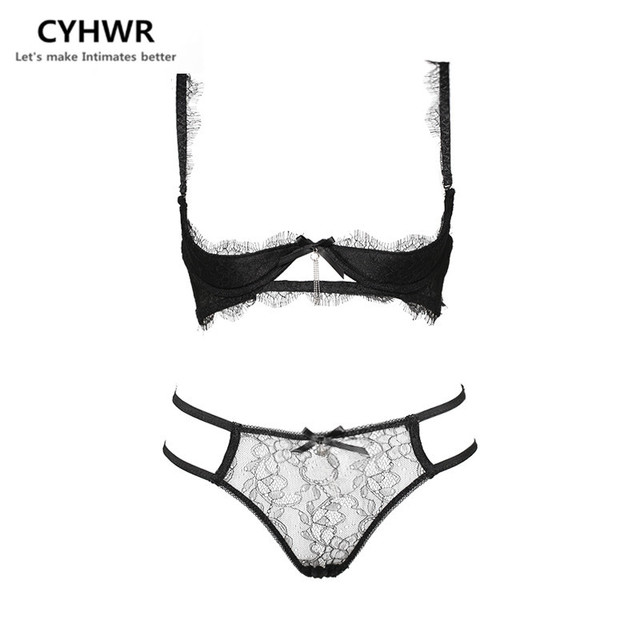 CYHWR Luxury Sexy Open Bow Lace Soild Pattern Lash Underwear Bra & Brief Set for Women