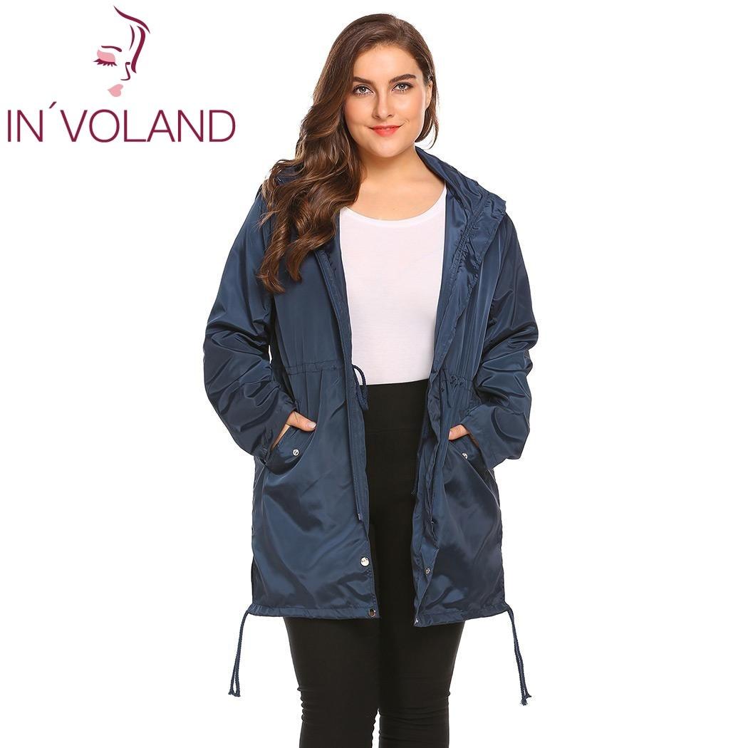 2d07f93c3b3 IN VOLAND Women Raincoat Jacket Plus Size XL-4XL Spring Autumn Lightweight  Hooded Drawstring Loose Waterproof Coat Big Size