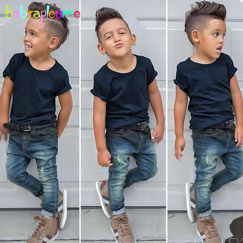 2Piece Spring Summer Kids Outfits Baby Boys Clothes 6 Years Cotton Short Sleeve T-shirt+Hole Jeans Children Clothing Sets BC1471