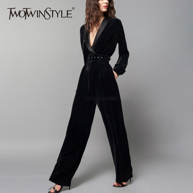 69c18d6eec81 TWOTWINSTYLE Autumn Velour Jumpsuit For Women V Neck Long Sleeve High Waist  Wide Leg Pants Trouser