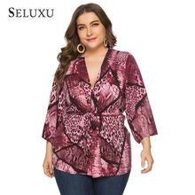 Seluxu 2019 Autumn Plus Size Women Tops Shirt Snaker Striped Sexy V-Neck Three Quarter Sleeve Sashes