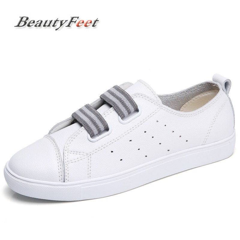 BeautyFeet Genuine Leather Women Shoes Woman Flat Loafers New Spring Autumn shoes for women Round Toe Hook & Loop Casual Shoes front lace up casual ankle boots autumn vintage brown new booties flat genuine leather suede shoes round toe fall female fashion