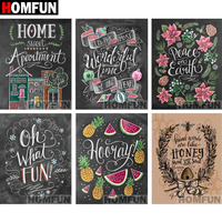 "HOMFUN Full Square/Round Drill 5D DIY Diamond Painting ""Blackboard text"" 3D Embroidery Cross Stitch 5D Decor Gift A06829"