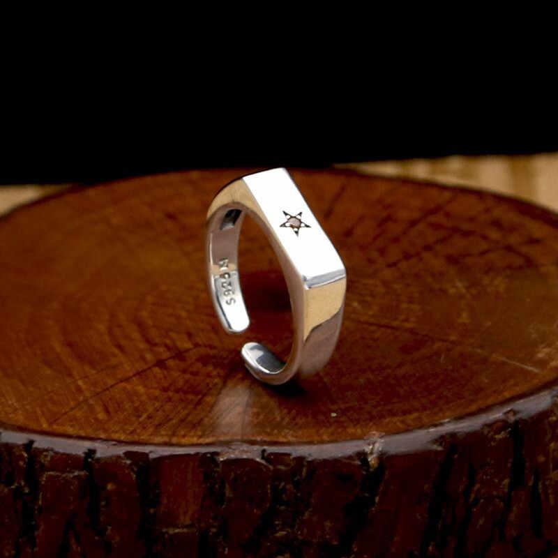 Гладкое открытие пятиконечная звезда инкрустированное Цирконом кольцо 100% Настоящее серебро 925 пробы кольцо ювелирные изделия для мужчин или женщин обручальное кольцо GR2