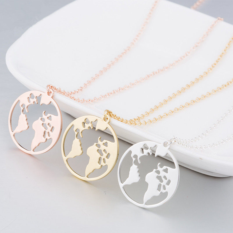 Online shop 1pcs earth necklace necklaces pendants world continent stainless steel 20mm world map pendant necklace personalized globetrotter earth chokers necklaces with 45cm5cm gumiabroncs Gallery