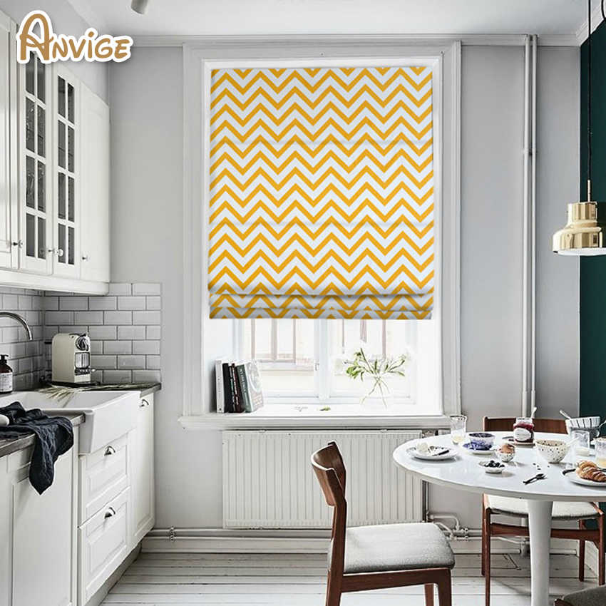 Anvige Modern Yellow Wave Printed Roman Shade Rollor Blind Window Curtains For Living Room