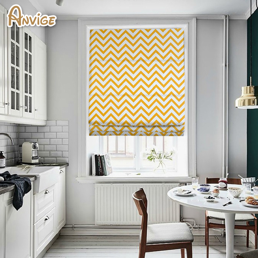 Astounding Us 30 27 8 Off Anvige Modern Yellow Wave Printed Roman Shade Rollor Blind Window Curtains For Living Room In Blinds Shades Shutters From Home Interior Design Ideas Gentotryabchikinfo