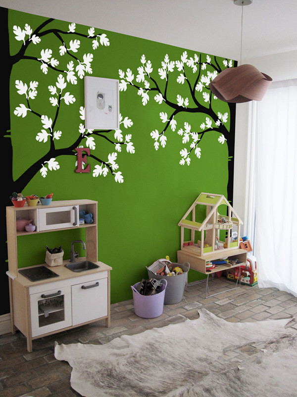 235*312 cm large green tree wall sticker vinyl stiker dinding ruang