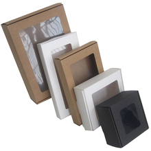 10pcs/lot 18*12*4cm kraft paper box with pvc window for gift packing party chocolate cake baking Graduation diy candy box
