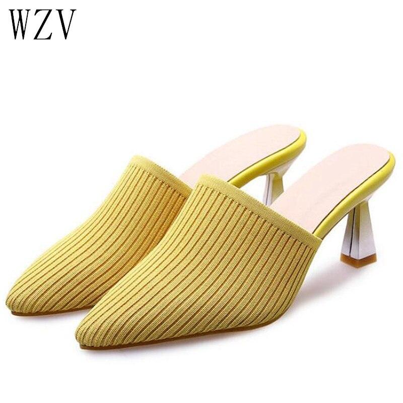 Женская тканая обувь с острым носком; модные туфли на среднем каблуке; женские туфли лодочки на шпильке; лоферы; женские шлепанцы; большие ра