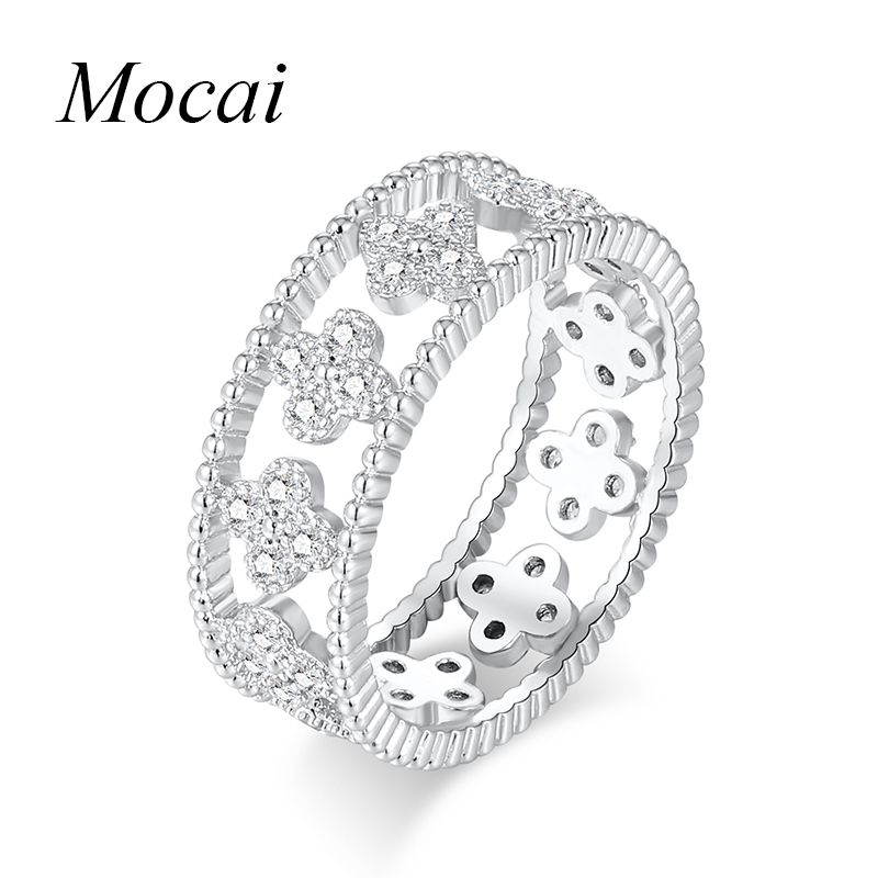 Latest Hollow Sweet Four Leaf Clover Rings For Women Silver Color Cubic Zircornia Flower Finger Engament Ring Jewelry ZK20 kcchstar women s four leaf clovers style gold plated finger ring golden us size 8
