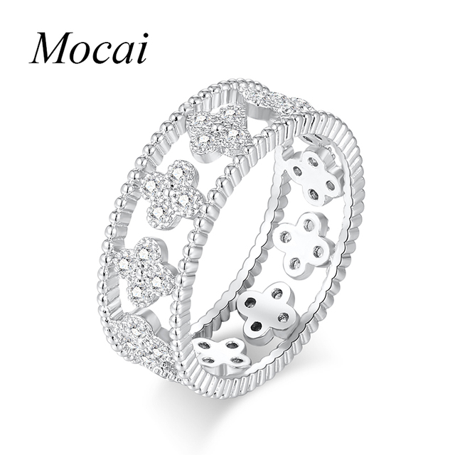 Latest Hollow Sweet Four Leaf Clover Rings For Women Silver Color Cubic Zircorni
