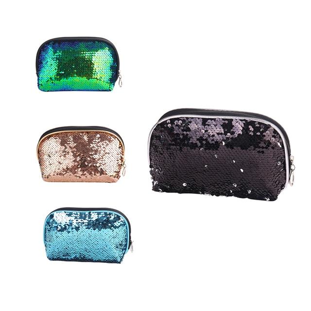 Semicircle Mermaid Sequin Glitter Travel Cosmetic Bags Makeup Brush Handbag Pouch BB Cream Bath Wash Make Up Brush Holder Bag