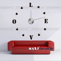 Self Adhesive Modern 3D Frameless DIY Wall Clock Room Love Heart Decor 12S011