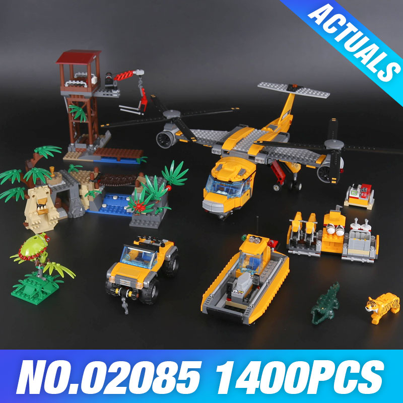 Lepin 02085 The Jungle Air Drop Helicopter Set Genuine DIY City Series 60162 Building Blocks Bricks Christmas Toy New Year Gifts the new jjrc1001 lepin city construction series building blocks diy christmas gift for kid legoe city winter christmas hut toy