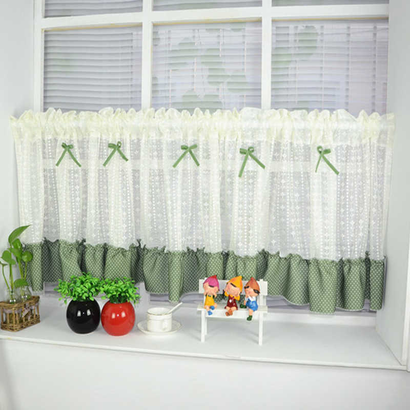 Kitchen short curtains window treatments curtain rod pocket lace blinds jacquard curtains luxury style decorative DL022&20