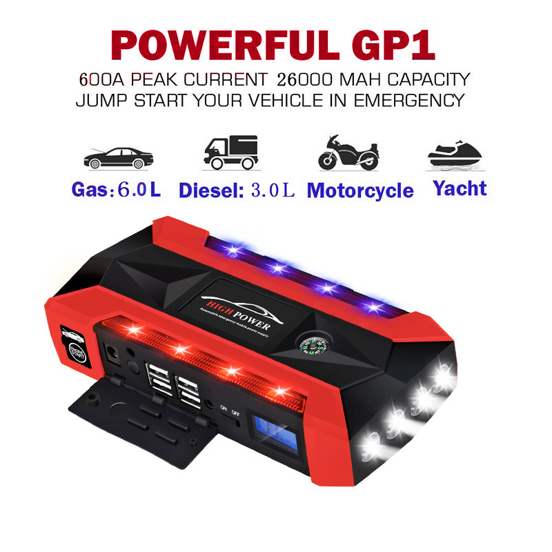 Updated Portable Car Jump Starter 89800mAh For Car Starting Device LCD Display 4USB Power Bank Digitals Compass SOS Light practical 89800mah 12v 4usb car battery charger starting car jump starter booster power bank tool kit for auto starting device