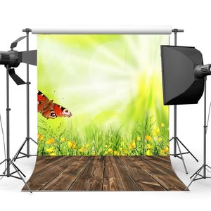 Image 1 - Nature Spring Backdrop Butterfly Blooming Fresh Flowers Green Grass Blurry Wallpaper Field Wood Floor Photography Background