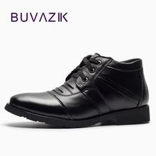 BUVAZIK high quality winter boots men genuine leather men boots waterproof warm fur snow boots men lace-up black men shoes