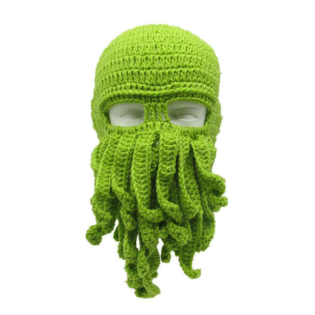 61d07a93947 Handmade Novelty Funny Men s Women s Tentacle Octopus Hat Crochet Cthulhu Beard  Beanie Knit Wind Mask Cap