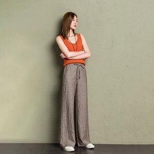 Image 3 - cotton linen wide leg pants women 2019 summer striped Breathable plus size harajuku gothic trousers women palazzo pants capri