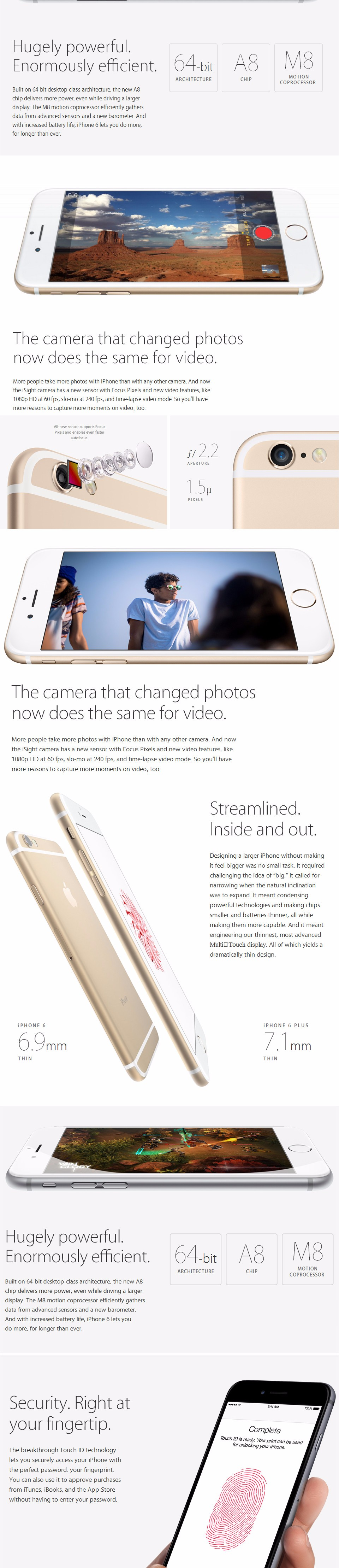 """Разблокированный Apple iPhone 6 Plus 6 P 16GB 64GB 128GB 5,"""" IOS 3G WCDMA 4G LTE 8MP камера 1G RAM WIFI GPS мобильный телефон"""