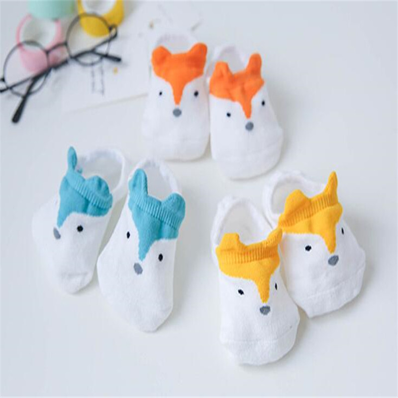 3 Pairs New Hot Baby Infant Winter Soft Cartoon Fox Socks Ankle Socks 0-10Y Baby Girls Boys Socks Non-slip Children Socks Cotton