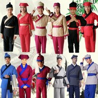 Adult Chinese Traditional Hanfu Costume Ancient Hotel Restaurant Waiter Clothing Men Tang Dynasty Outfit Stage Performance Cloth