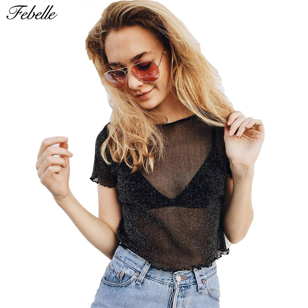 Spring Summer Women Glitter Sheer Mesh Top Casual Perspective Hollow Out Female Tees Sexy Shine Basic Short T Shirt #231403 муфты ганзена