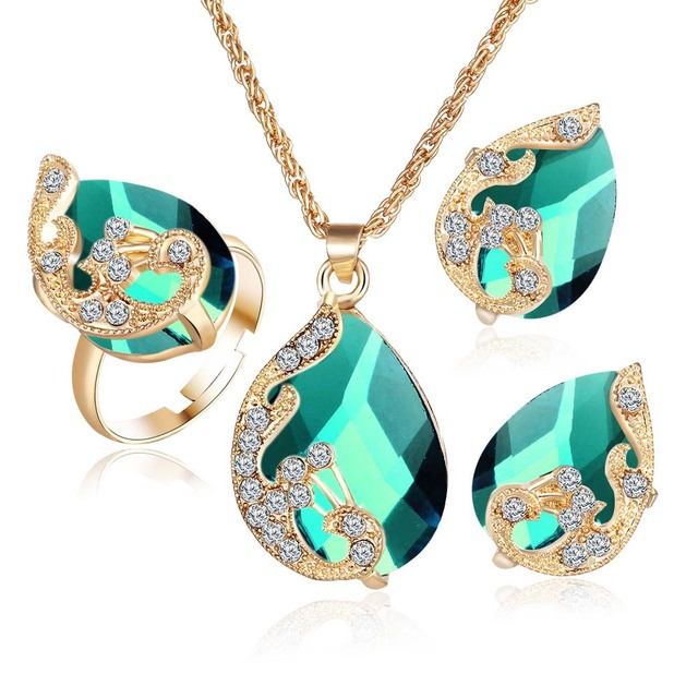 Crystal Peacock Jewelry Sets Bride Wedding Necklace Earring Ring Set