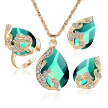 Crystal Peacock Jewelry Sets Bride Wedding Necklace Earring Ring Set Rhinestone Gold Color Water Drop Pendant Women Accessories(China)
