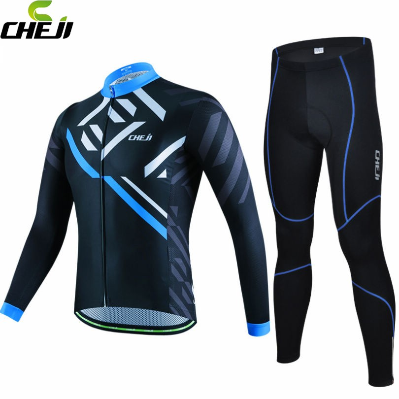 CHEJI High Quality Men's Team Ropa Ciclismo Outdoor Wear Riding Cycling Jersey Long Sleeve Bike Kits Shirt Pants Sets S-XXXL teleyi team cycling outfits mens ropa ciclismo long sleeve jersey bib pants kits bicycle jacket trousers set red black