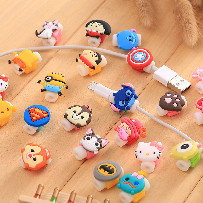 10pcs lot Cartoon font b Cable b font Protector Cover Data Line Cord Protection Silicone Cartoon