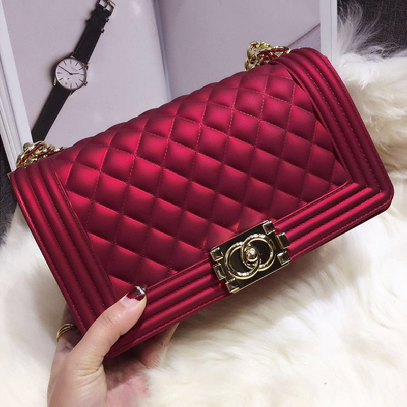a4d35083da0afb Elegant Solid Color Jelly Bags Women Gold Locks Chains Shoulder Messenger  Bags Fashion Women Diamond Plaid Handbags Channel Bags-in Shoulder Bags  from ...