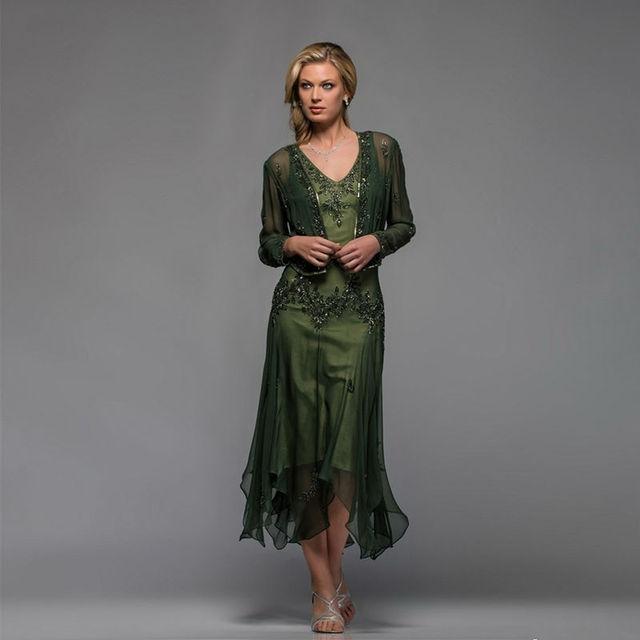 Elegante de Duas Peças de Mãe Dos Vestidos de Noiva 2016 Vestido Mae da Noiva Sob Encomenda Applique Chá de Comprimento Vestido de Noite Formal vestidos